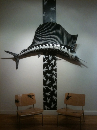 "Porkchop, ""Fish"" installation consisting on 2 hand painted chairs, mixed medis sculpture and wall hanging in, 2010"